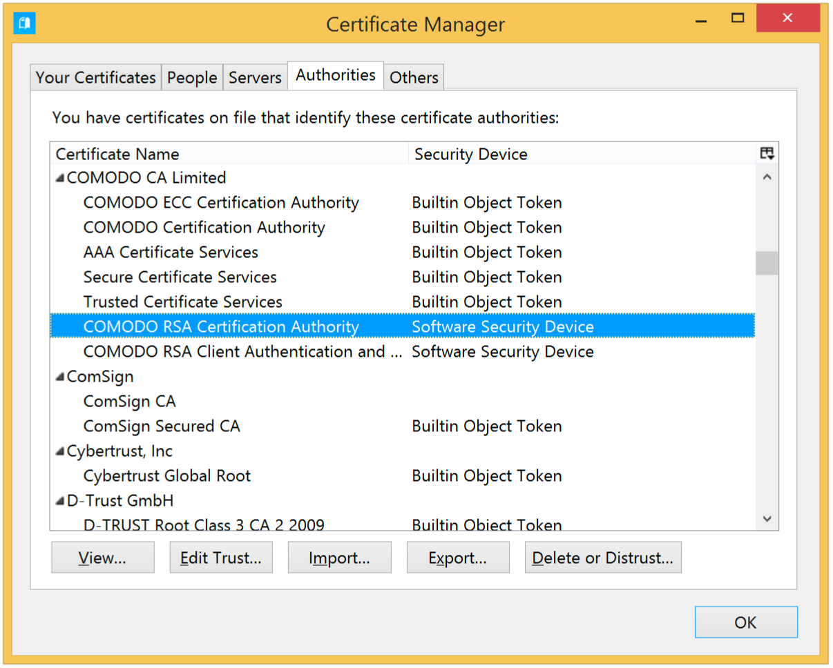 Obtaining a smime certificate to sign emails postbox support select comodo rsa certification authority and then click the edit trust button 1betcityfo Choice Image