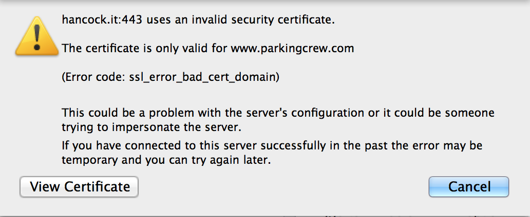 Invalid Security Certificate Errors – Postbox Support