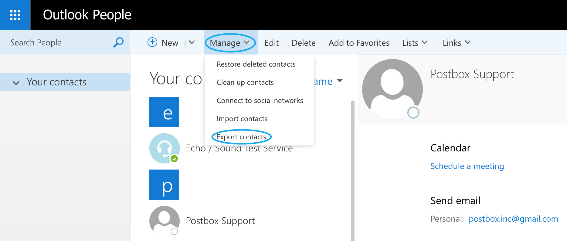 how to get contacts in outlook