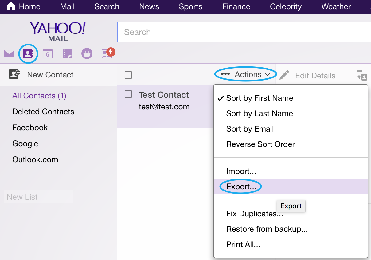 Importing Yahoo! Contacts – Postbox Support